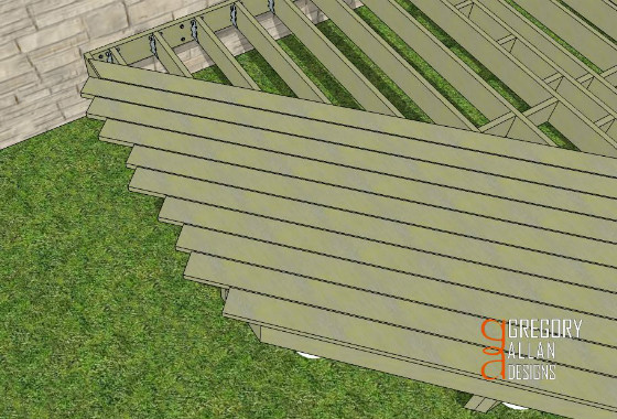 Deck boards laying degree angle