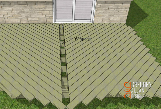Herringbone decking pattern